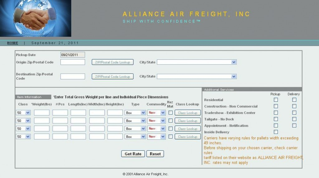Ship Alliance Air Freight Rate System